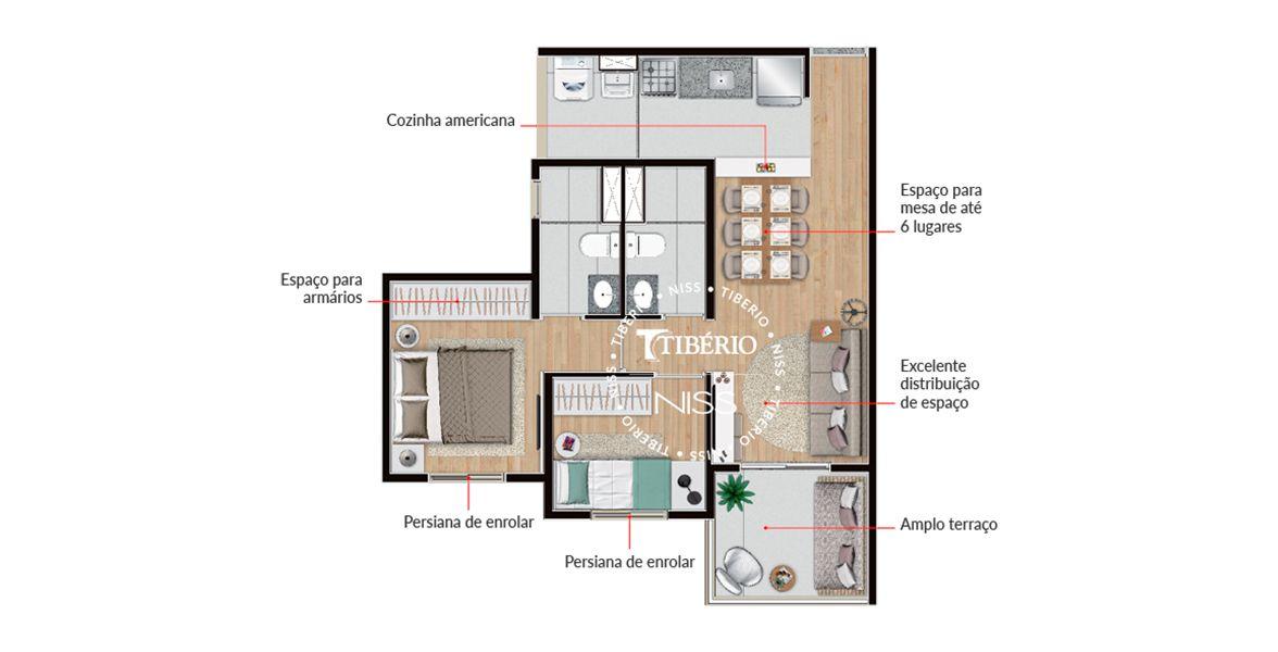 51 M² - 2 DORMS., SENDO 1 SUÍTE. Apartamento na Vila Romana com suíte do casal com área cativa para armário e banheiro com ventilação natural. A sala se integra à cozinha e à varanda em L.