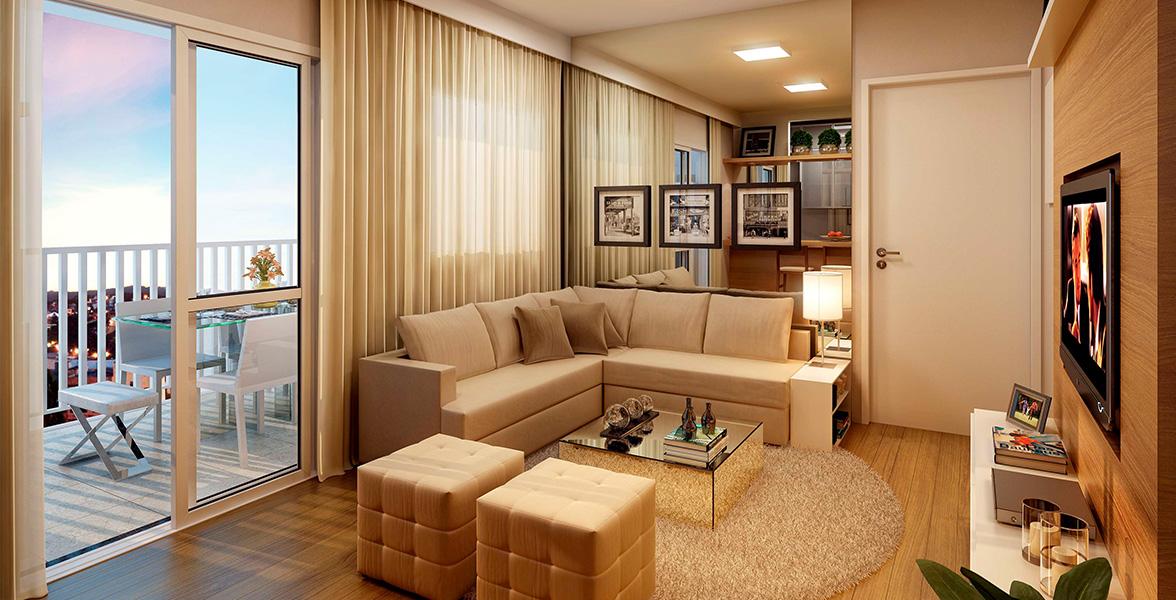 LIVING AMPLIADO do apto de 78 m² cria uma confortável sala de estar para você receber bem do Flex Osasco