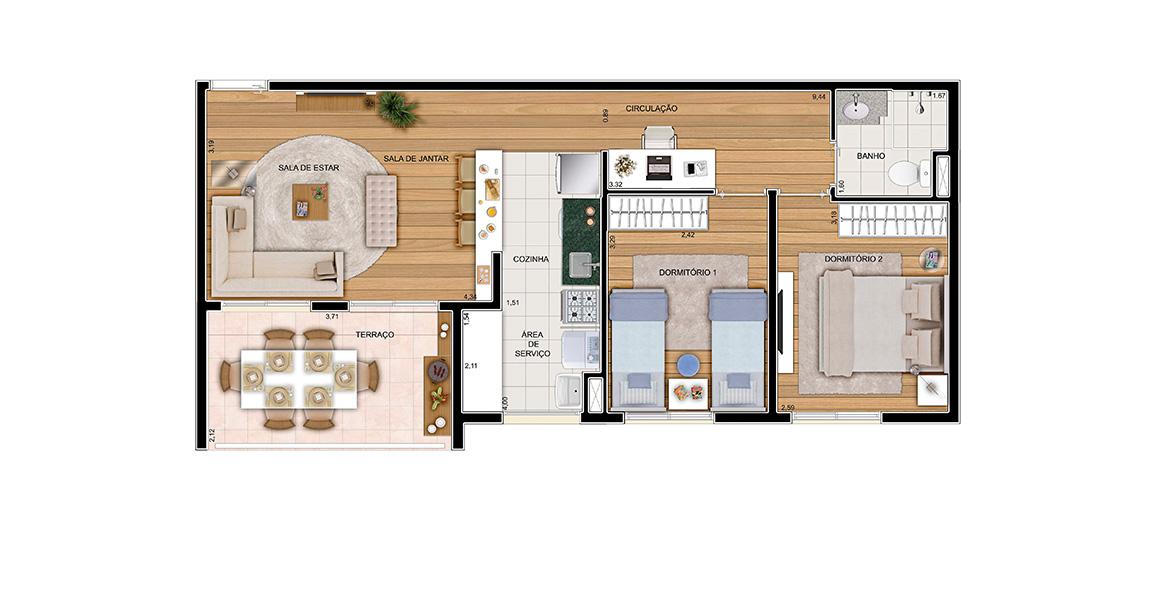 Planta do Flex Osasco. 62 M² - 2 DORMS. Apartamento em Osasco com 2 dormitórios e sala integrada à cozinha e ao terraço. No corredor há espaço para um home office ou uma bela adega. Ótimo preço!