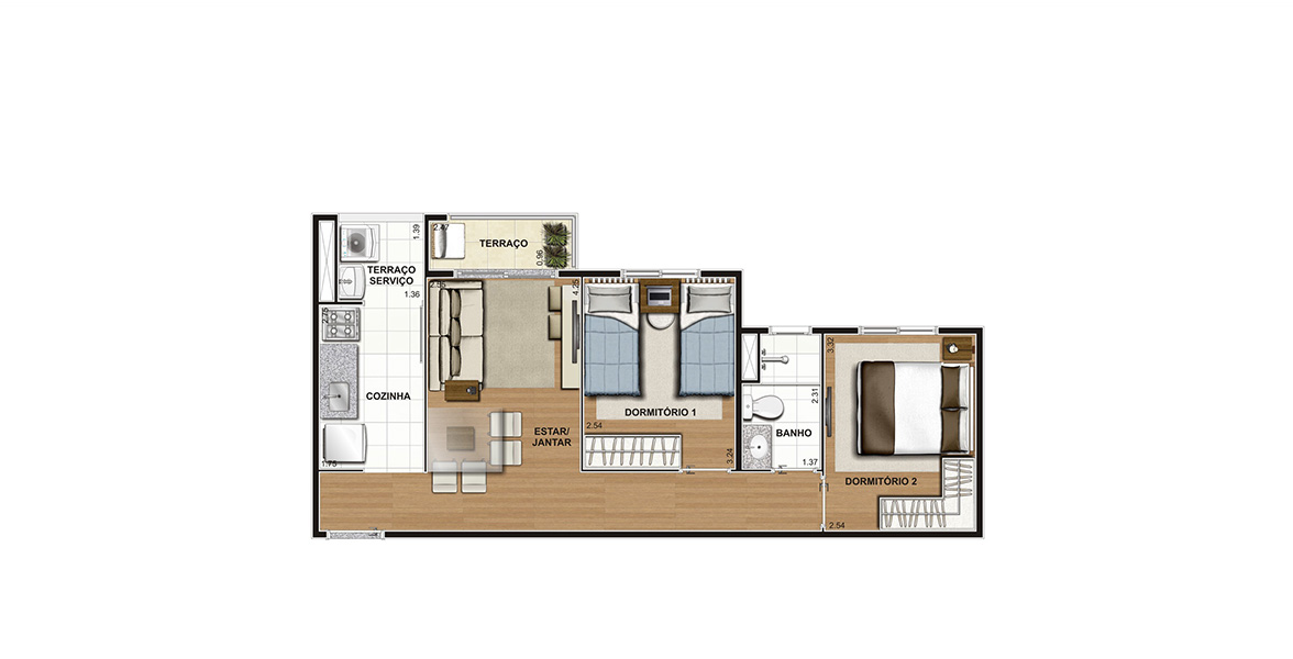 Planta do Flores Parque do Carmo. 45 M² - 2 DORMS. Apartamento no Aricanduva com reservado dormitório para o casal no canto oposto da área social e com um banheiro entre o 2º dormitório.