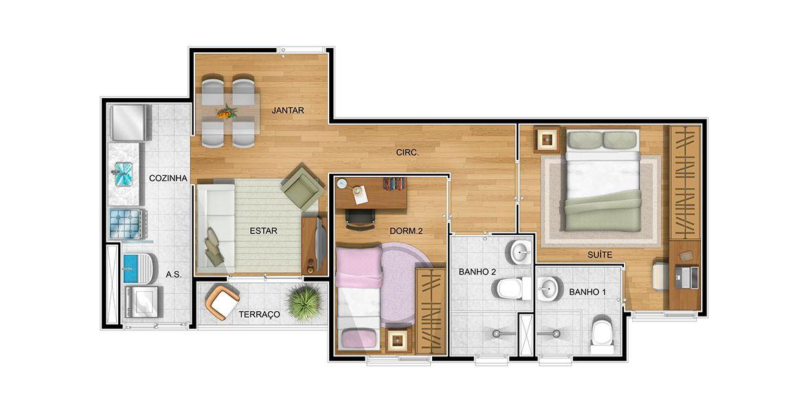 Planta do Magnum Residencial. 53 M² - 2 DORMS., SENDO 1 SUÍTE. Apartamento no Parque Cecap com suíte para o casal com ampla área para armário. A sala conta com apoio da varanda, muito útil ao receber os amigos.