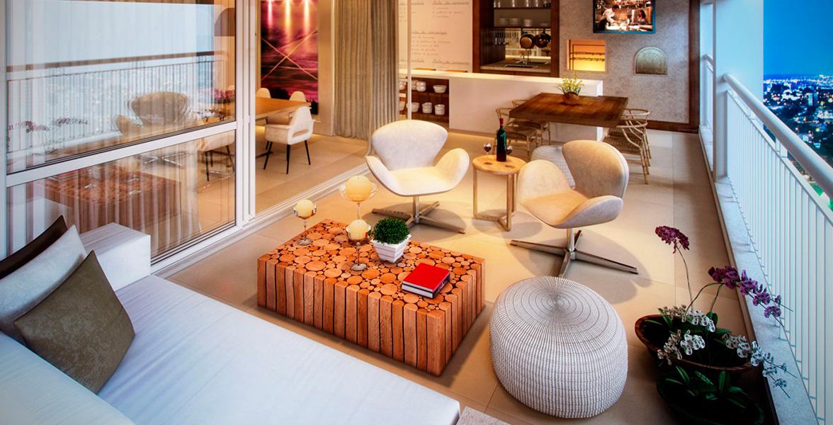 TERRAÇO do apto de 221 m² com churrasqueira, integrado ao living por amplas portas de vidro, proporcionando maior entrada de luz natural do L'Essence Mooca