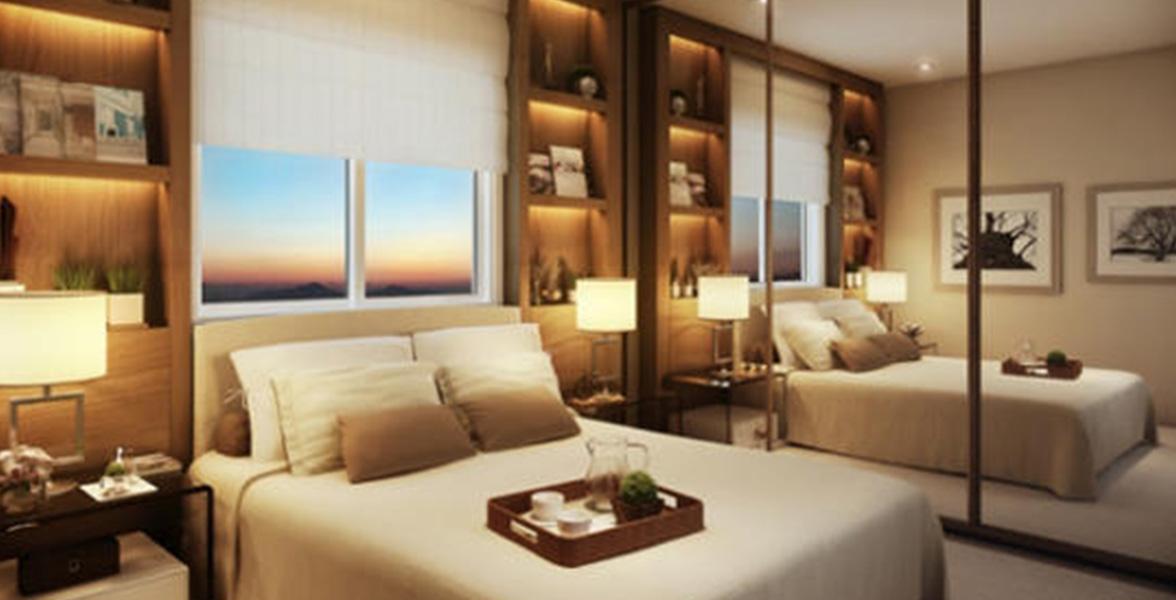 SUÍTE do apto de 105 m² com ampla janela com persiana de enrolar, que garante maior entrada de luz do Las Ventanas