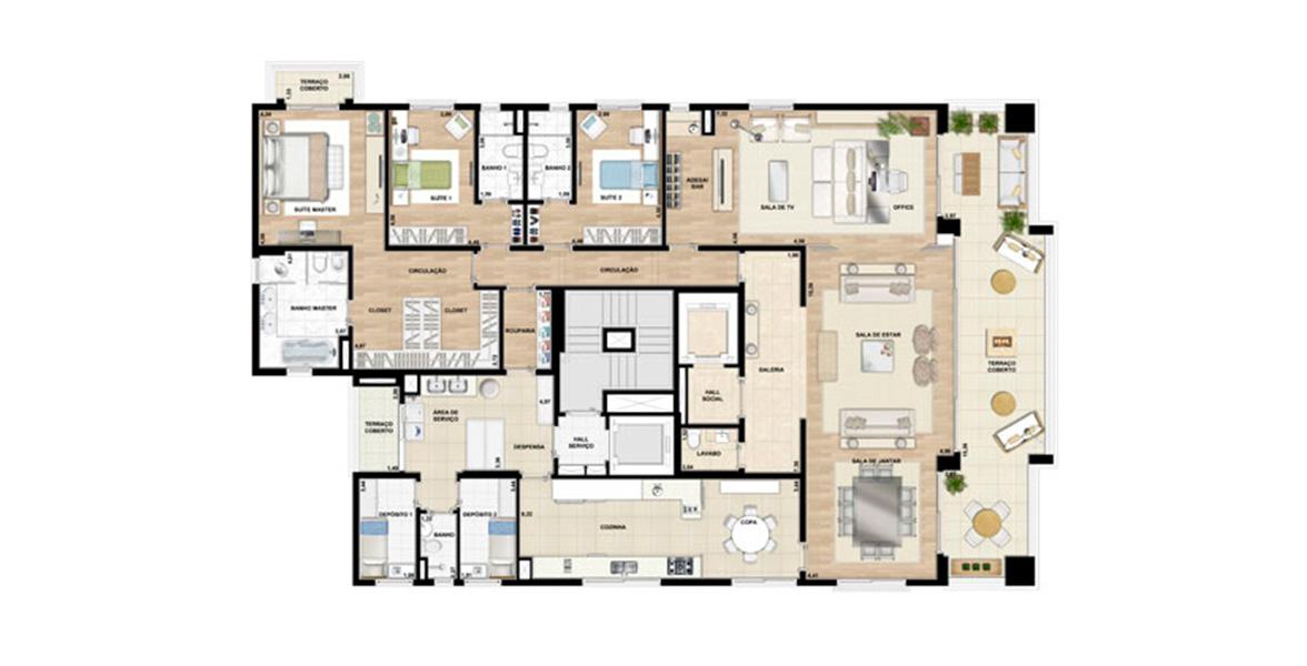 Planta do London Blue. 350 M² - 3 SUÍTES. Apartamento no Campo Belo com 3 suítes, Living ampliado com reservada Sala de TV e Home Office, deixando a área social ainda mais confortável.