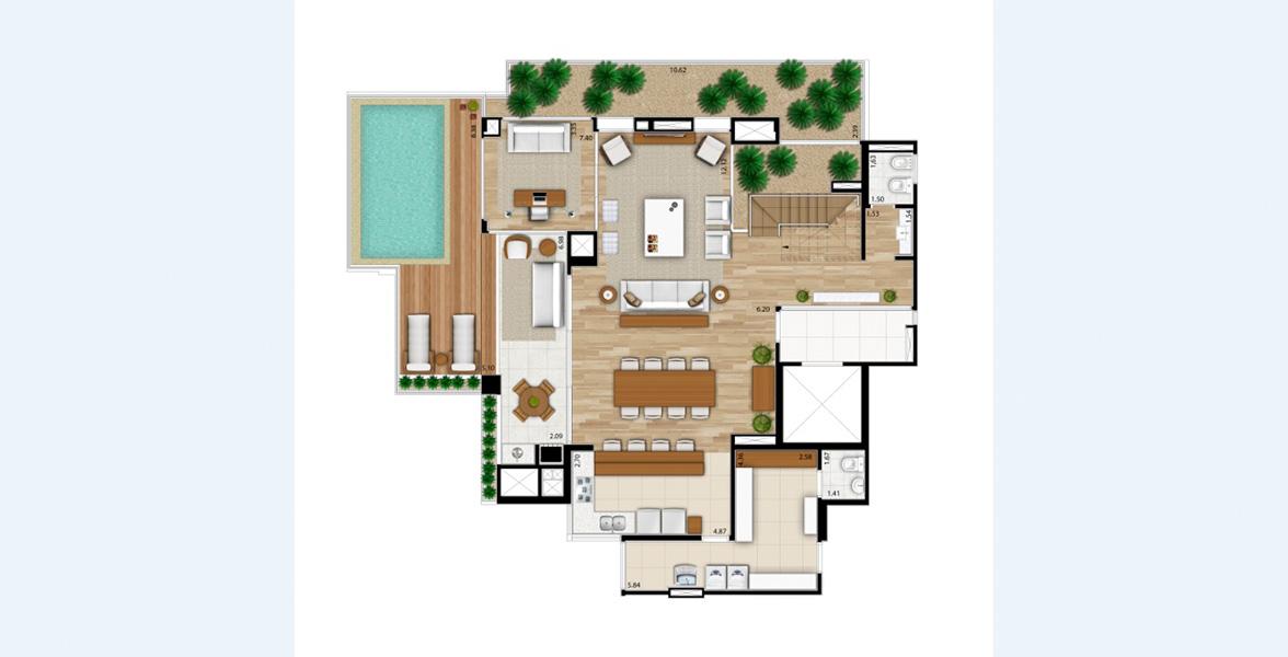 342 M² - 4 SUÍTES. Cobertura duplex inferior inteiramente dedicada à área social, com cozinha integrada ao living e terraço gourmet com churrasqueira e um exclusivo espaço para sua piscina.