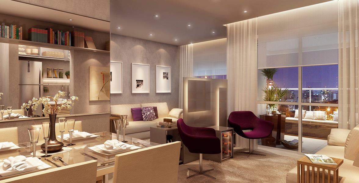 LIVING AMPLIADO do apto de 64 m² que cria uma reservada Sala de TV do Mozaik Vila Sônia