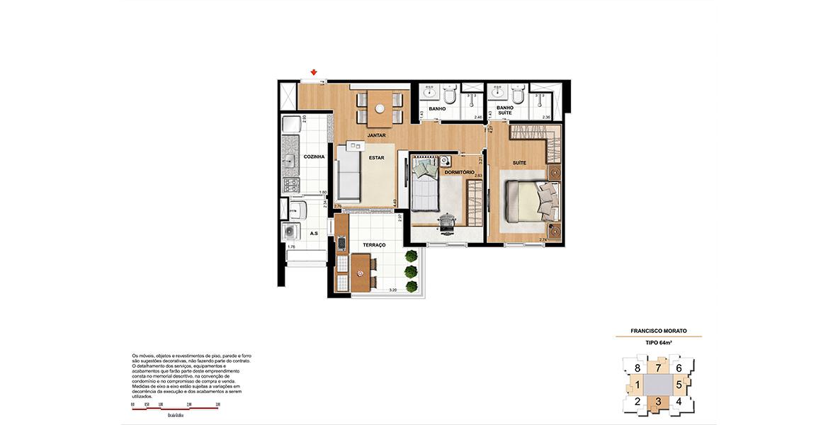 Planta do Mozaik Vila Sônia. 64 M² - 2 DORMS., SENDO 1 SUÍTE. Apartamento na Vila Sônia com 2 dormitórios, sendo uma boa suíte para o casal com closet. O terraço se integra à sala e à cozinha através de um passa prato.