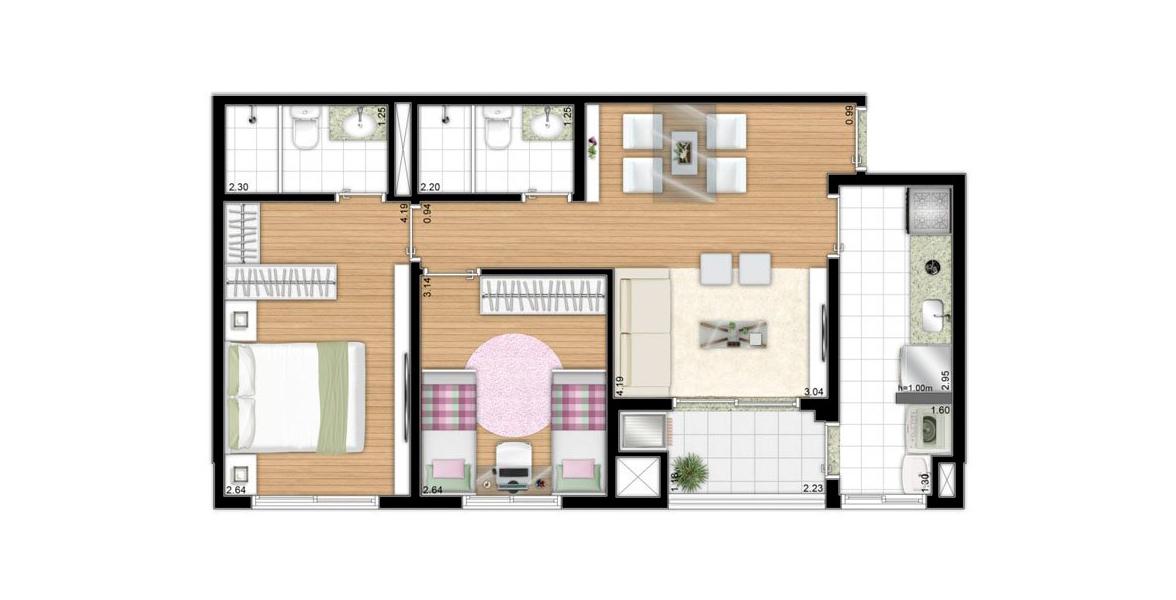 Planta do Parque das Flores - Residencial Jardim. 60 M² - 2 DORMS., SENDO 1 SUÍTE. Apartamento no Butantã com 2 dormitórios, sendo uma boa suíte para o casal com espaço para closet. A varanda se integra à sala e à cozinha e conta com churrasqueira.