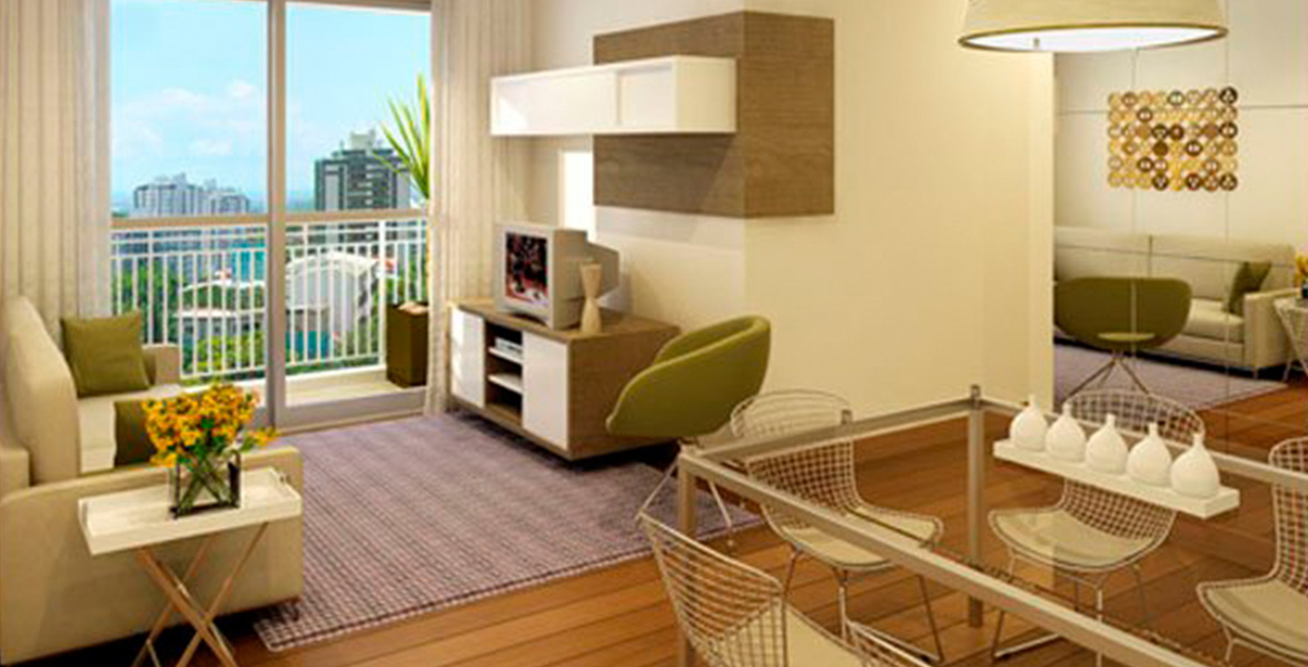 LIVING do apto de 63 m² com boa área de circulação e você pode aproveitar ainda mais os espaços com móveis planejados do Parque do Sol