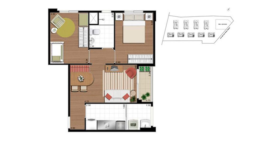 46 M² - 2 DORMS. apartamento em Guarulhos com 2 dormitórios e metragem compactada, ideal para famílias que estão comprando seu primeiro apto. Ótimo preço!
