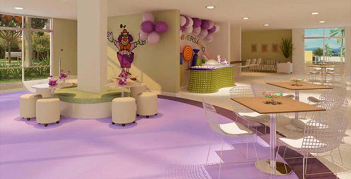 SALÃO DE FESTAS INFANTIL com decoração alegre, um buffet infantil à sua disposição.