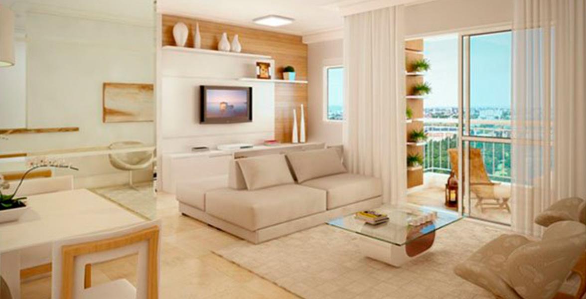 LIVING AMPLIADO do apto de 82 m² cria uma reservada Sala de TV.