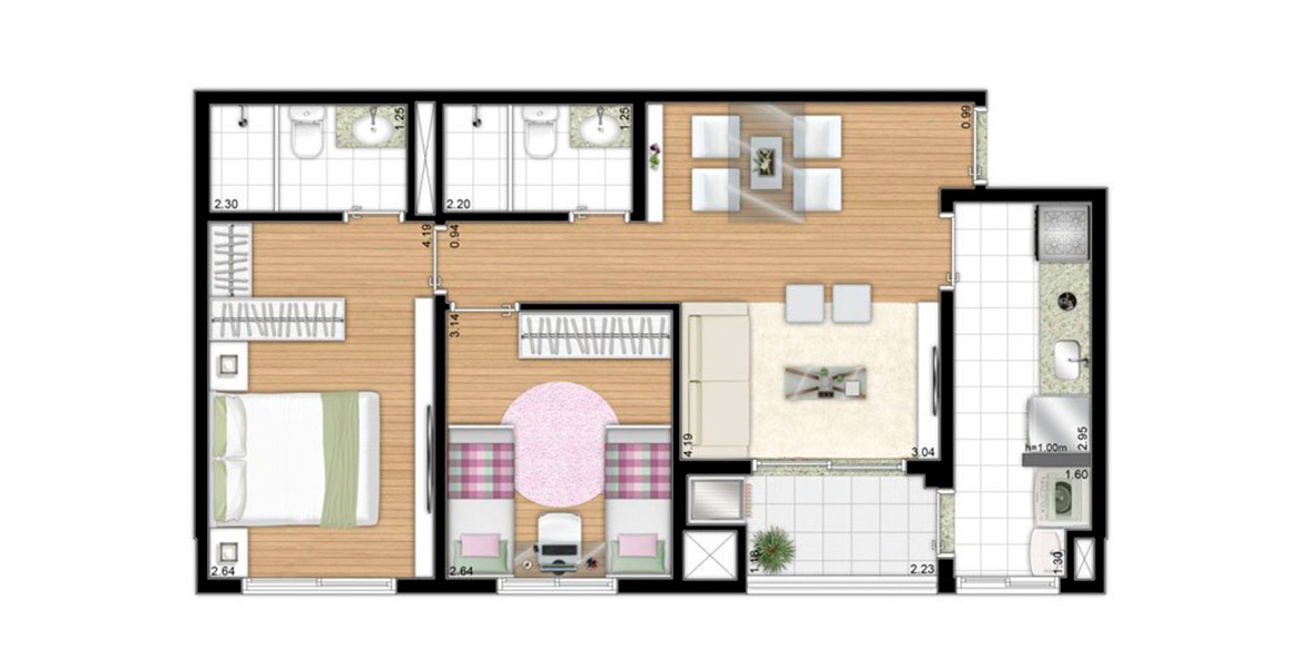 Planta do Parque dos Pássaros - Residencial Canário. 60 M² - 2 DORMS., SENDO 1 SUÍTE. Apartamento no Butantã com 2 dormitórios, sendo uma boa suíte para o casal com espaço para closet. A varanda se integra à sala e à cozinha e conta com churrasqueira.