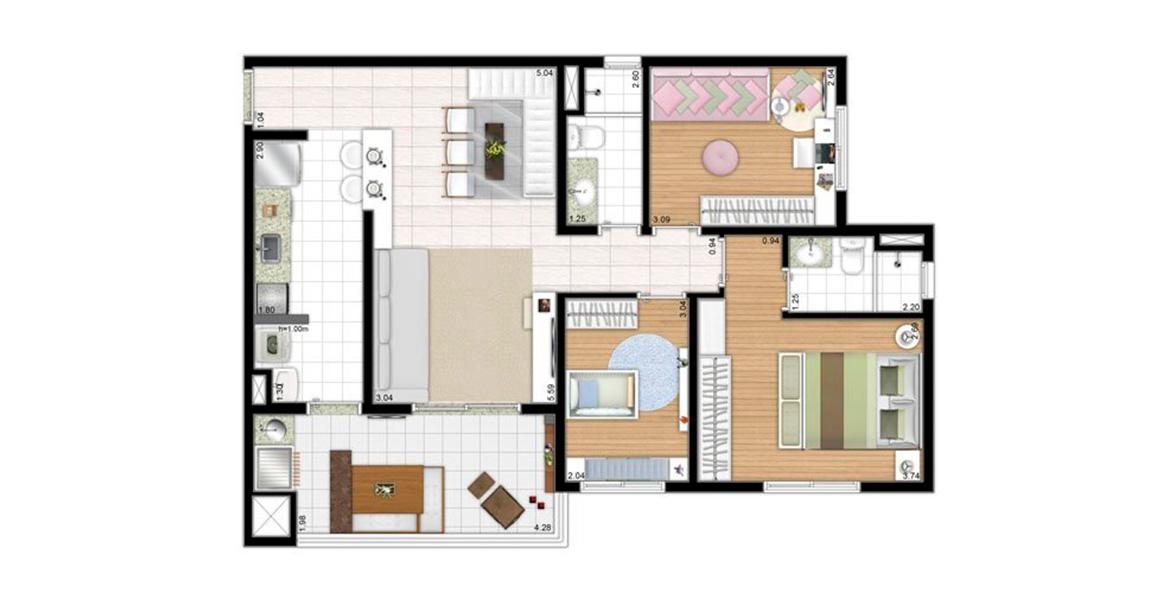 82 M² - 3 DORMS., SENDO 1 SUÍTE. Apartamento no Butantã com 3 dormitórios para famílias maiores, todos os ambientes com ventilação e iluminação natural, deixando o apto muito agradável.