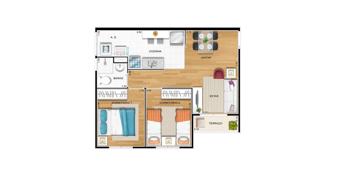 49 M² - 2 DORMS. Apartamento no Aricanduva com 2 dormitórios, uma planta muito bem planejada, todos os ambientes com iluminação e ventilação natural, possibilitando um apto bastante arejado.