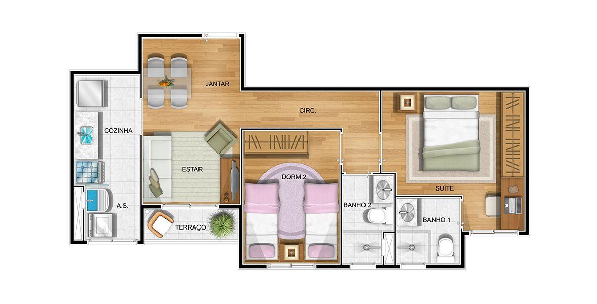 54 M² - 2 DORMS., SENDO 1 SUÍTE. Apartamento na Penha com suíte para o casal e área social com sala apoiada pelo terraço. A parede da cozinha é flexível, possibilitando uma bancada de cozinha americana.