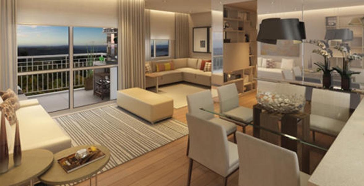 LIVING AMPLIADO do apto de 77 m² com cozinha americana e uma reservada Sala de TV.