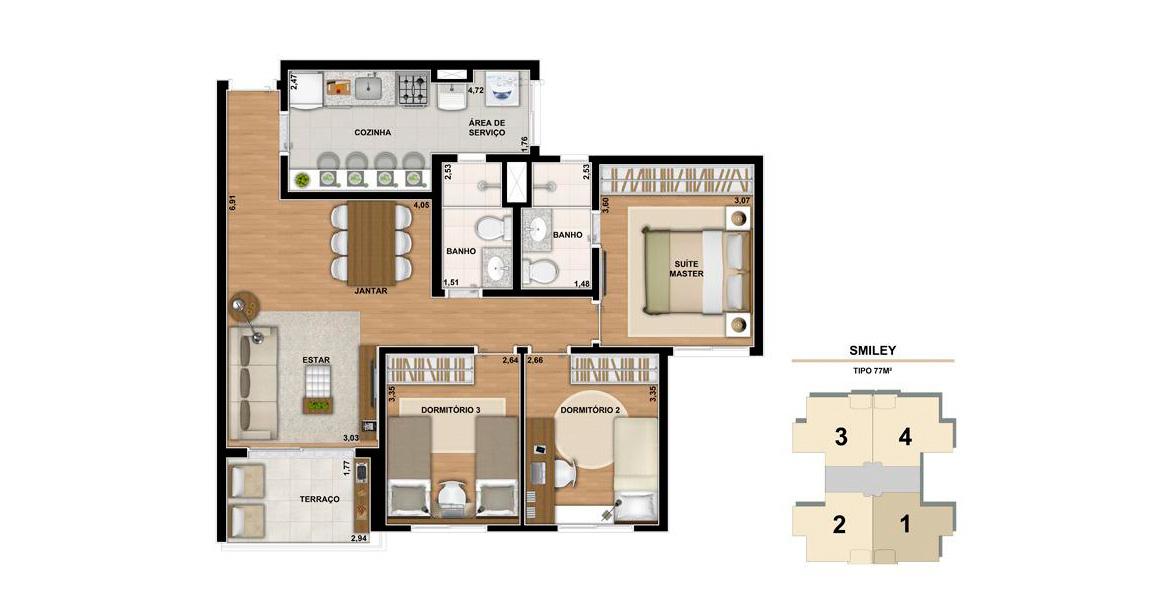 77 M² - 3 DORMS., SENDO 1 SUÍTE. Apartamento com 3 dormitórios para famílias maiores com até 3 filhos, sendo uma suíte do casal com área cativa para armário e banheiro com iluminação e ventilação natural. Ótimo preço!