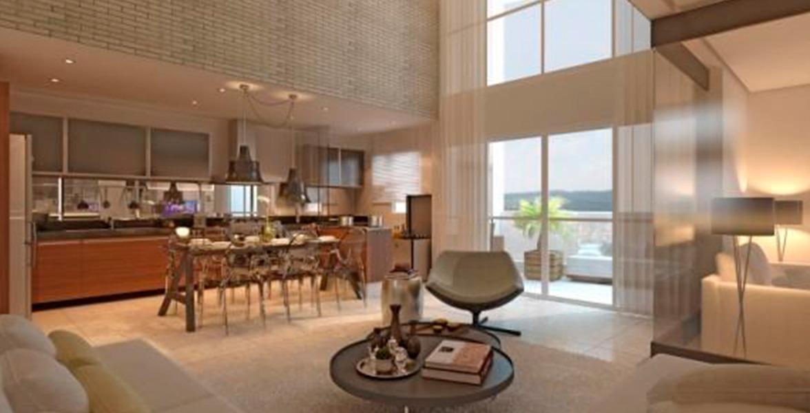 LIVING AMPLIADO do apto de 98 m² com pé-direito duplo e amplas janelas de vidro, permitindo maior ventilação e entrada de luz natural.