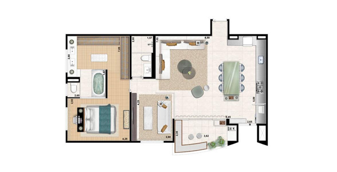 98 M² - 1 SUÍTE. Apartamento em Tamboré com Living ampliado, integrado com à Cozinha, com Lavabo e pé-direito duplo, excelente para receber os amigos e a família. Com grande Suíte Master, é ideal para solteiros e recém-casados.