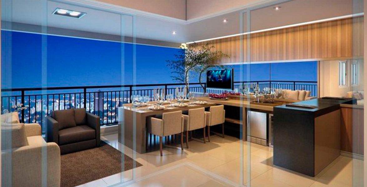 TERRAÇO do apto de 99 m² com excelente integração em L com o living, ampliando as vistas.
