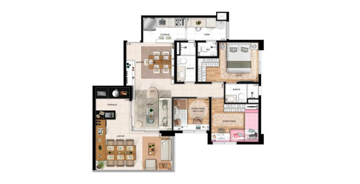 99 M² - 3 DORMS. SENDO 1 SUÍTE. Apartamento no Tatuapé com 3 dormitórios para famílias maiores. Uma ótima planta que ainda conta com ampla área social apoiada pelo terraço gourmet, muito útil ao receber os amigos.
