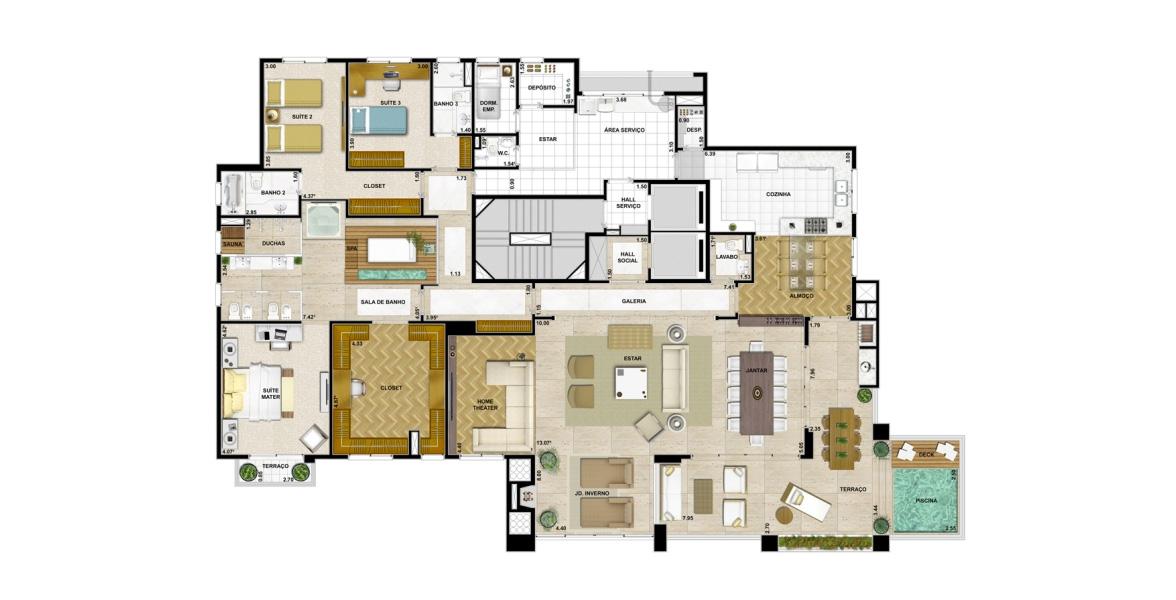 Planta do The Penthouses Tamboré. 360 M² - 3 SUÍTES. Apartamento em Tamboré com living ampliado, somando uma boca de sala de mais de mais de 15 m, com excelente integração em L com o terraço. A suíte master conta com um amplo closet e uma enorme sala de banho.