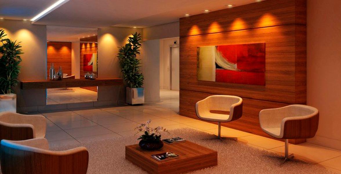 HALL com sofisticada decoração, dá acesso aos 2 elevadores da torre do The View Anália Franco