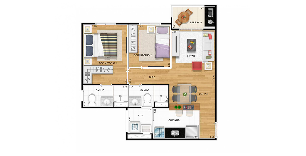 Planta do The View Anália Franco. 53 M² - 2 DORMS., SENDO 1 SUÍTE. Apartamento na Anália Franco com 2 dormitórios, sendo uma ótima suíte para o casal com closet e banheiro com ventilação natural. A sala tem boa amplitude devido à cozinha americana e ao terraço.