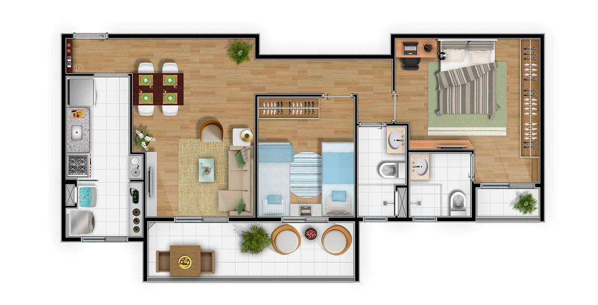 Planta do Venturi Residencial. floorplan