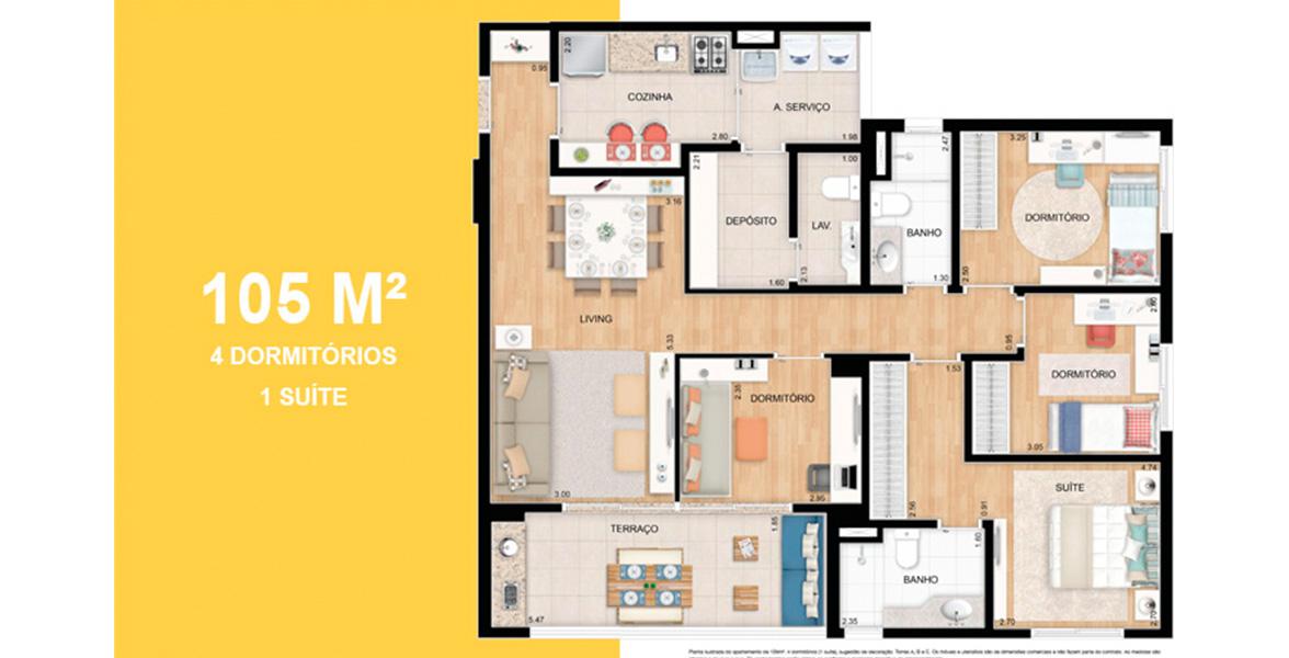 105 M² - 4 DORMS., SENDO 1 SUÍTE. Apartamento em Diadema com 4 dormitórios para grandes famílias, tem uma ótima suíte com closet. A cozinha e a área de serviço contam com depósito e lavabo.