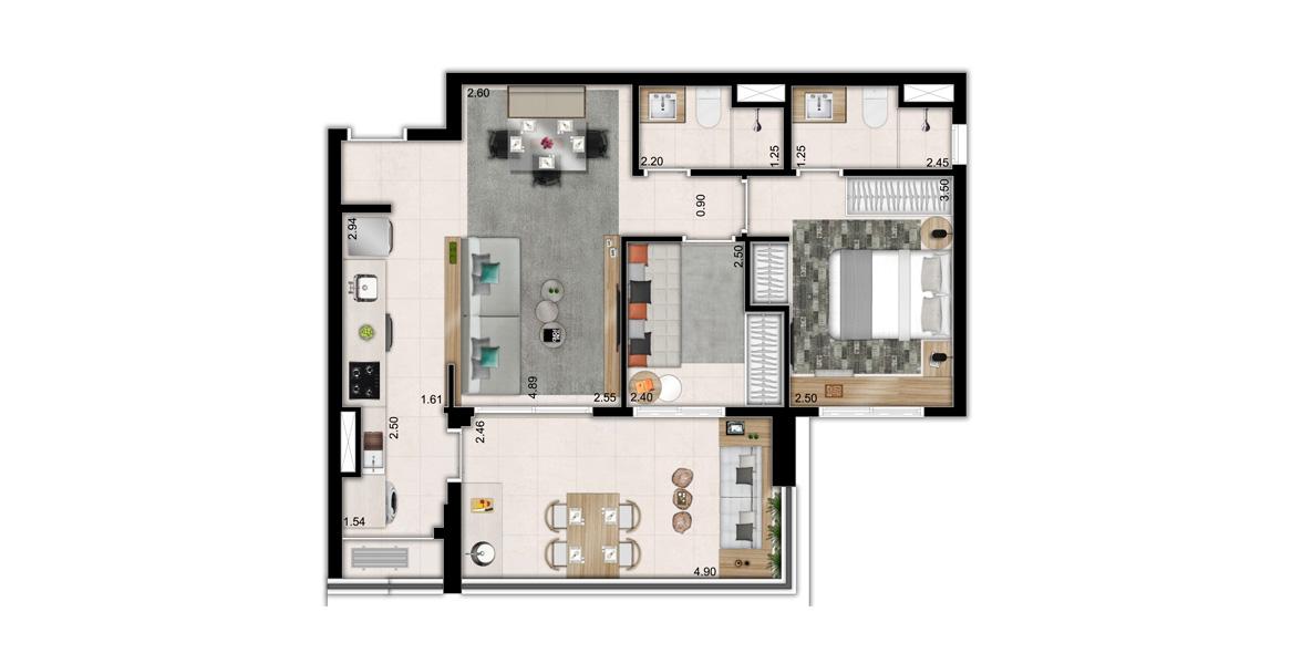 67 M² - 2 DORMITÓRIOS, SENDO 1 SUÍTE. Apartamento na Pompéia com 2 dormitórios, sendo uma suíte com banheiro com ventilação natural. O amplo terraço com quase 5 metros de frente tem passagem gourmet para a cozinha e piso nivelado com a sala.