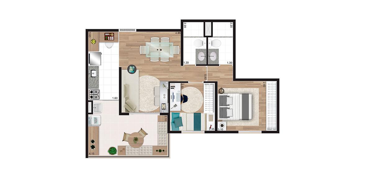 Planta do You, Estação Madalena. 56 M² - 2 DORMS, SENDO 1 SUÍTE. Apartamento na Pompéia com uma suíte para o casal e amplo terraço com 4 m de frente integrado à sala e à cozinha.