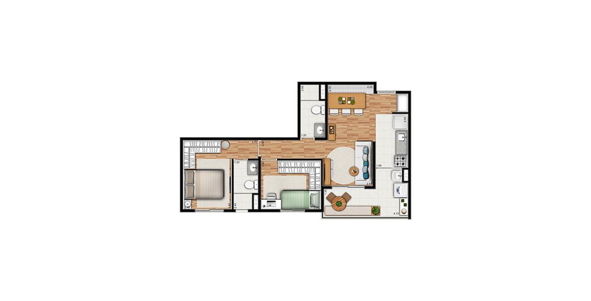 Planta do You, Klabin. 57 M² - 2 DORMS., SENDO 1 SUÍTE. Apartamento na Chácara Klabin com reservada suíte para o casal, tem terraço com 4 m de frente integrado à sala e com passagem gourmet para a cozinha.