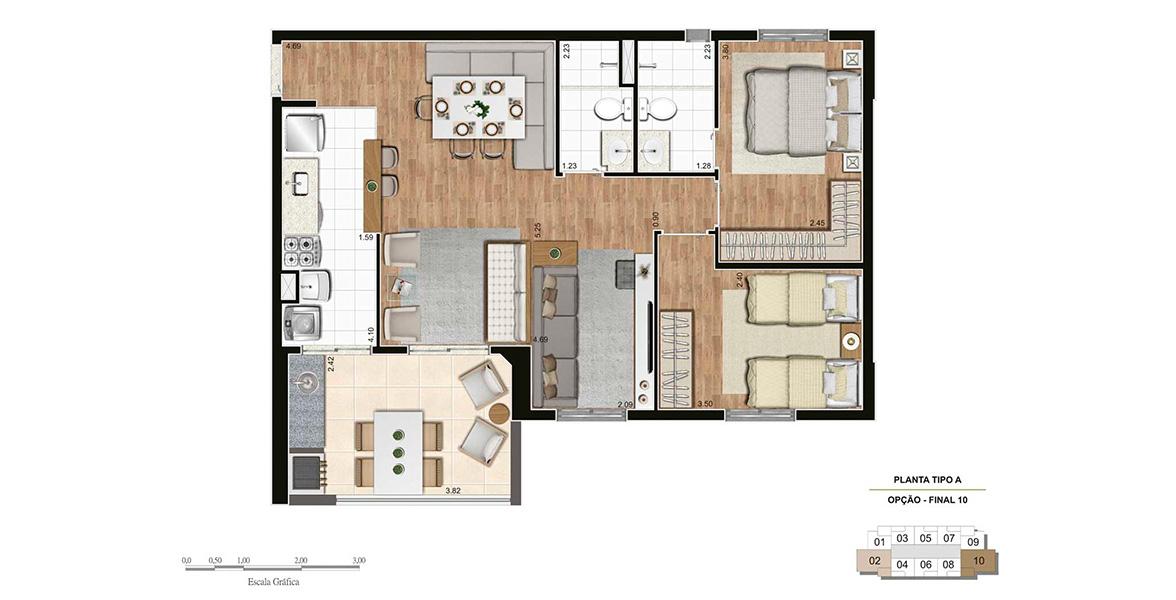 74 M² - 1 SUÍTE. Apartamento no Belém com living ampliado e cozinha americana, ampliando a área social, que conta com uma confortável varanda com churrasqueira integrada à sala e à cozinha.