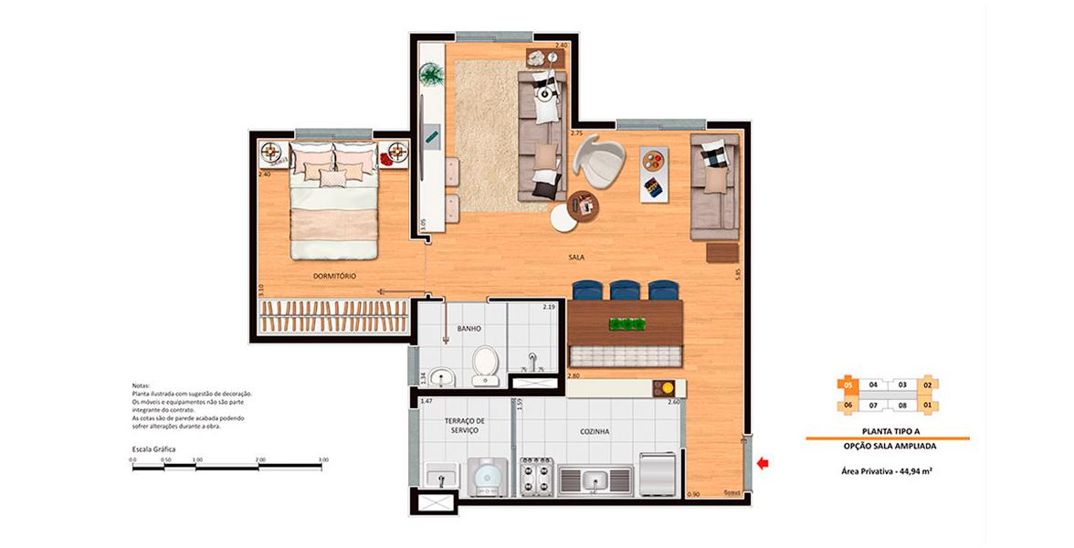 44 M² - 1 DORM. Apartamento na Penha com sala ampliada e cozinha integrada, formando um apto muito confortável para receber bem. Ideal para solteiros e recém-casados.