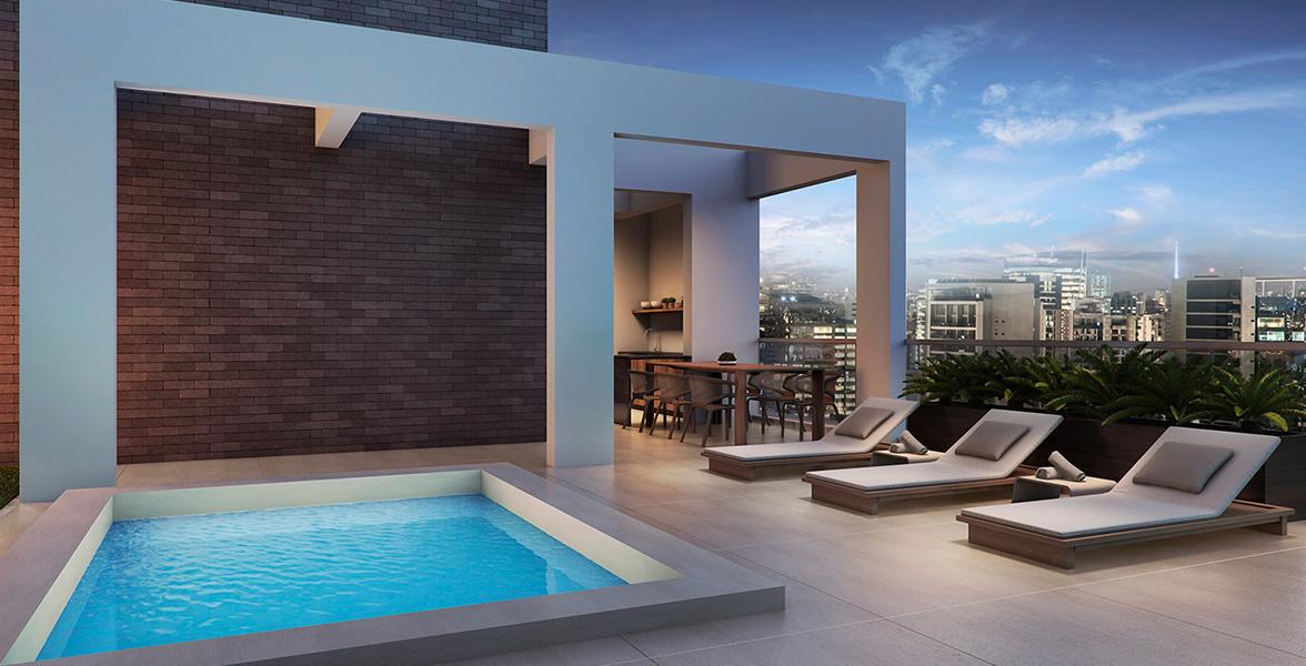 TERRAÇO do apto morada jardim de 520 m² com piscina privativa ao ar livre.