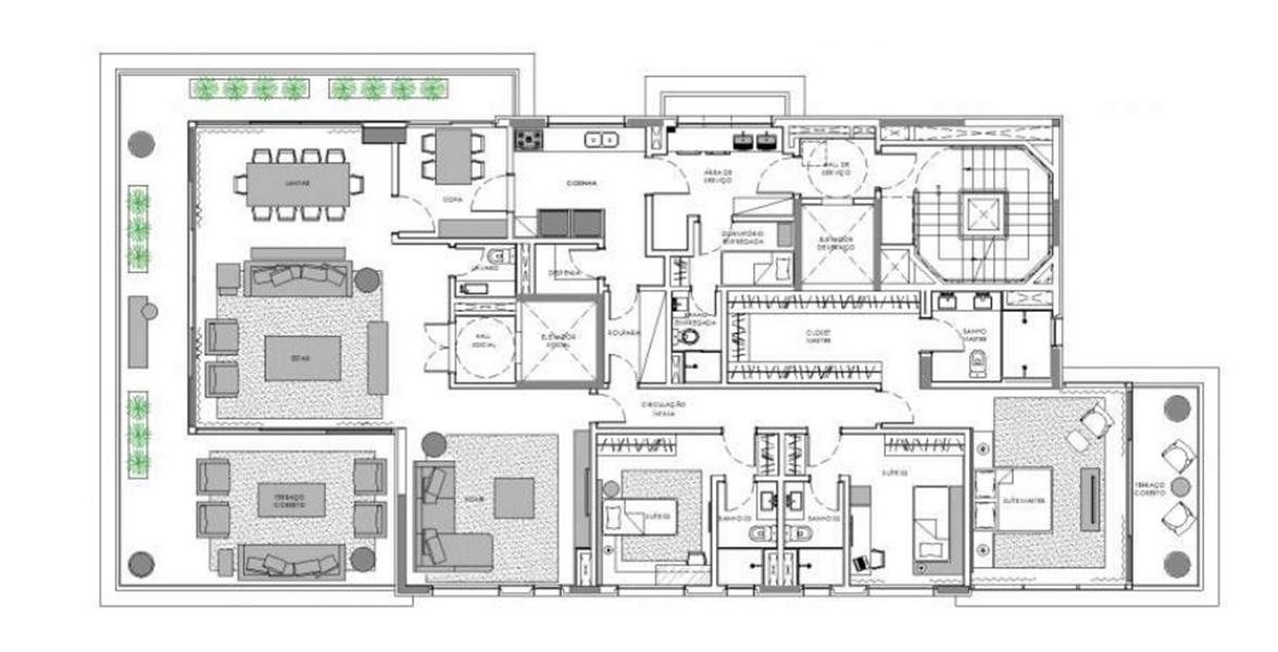 294 M² - 3 SUÍTES. Apartamento com estar ampliado, criando uma reservada Sala Home Theater. Ainda assim, mantém uma ótima separação da área íntima da área social, com passagem íntima.