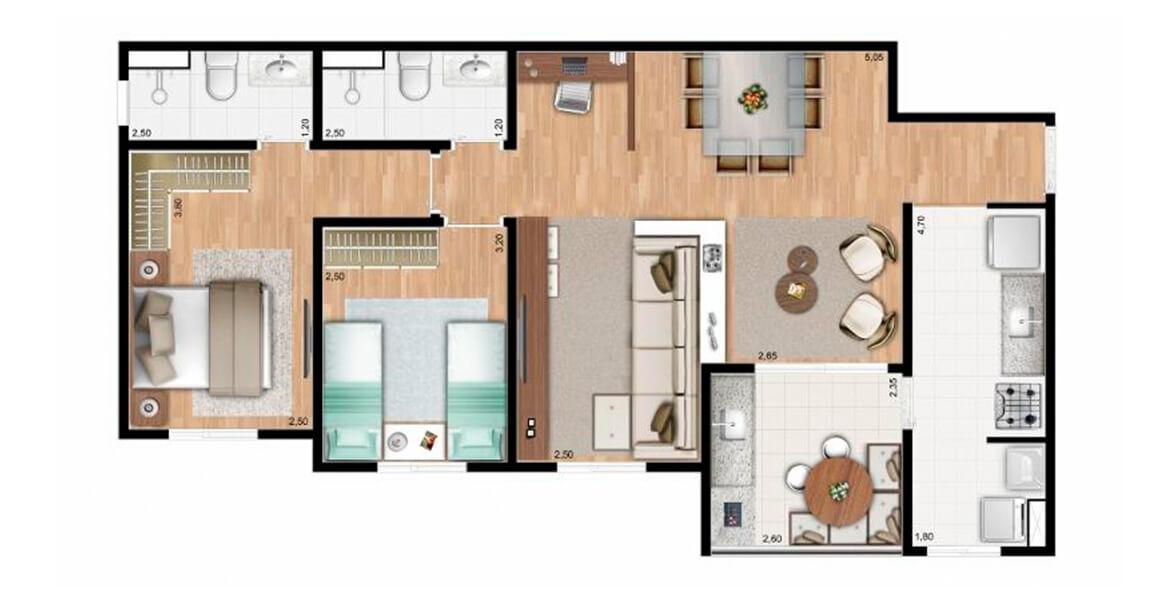 76 M² - 2 DORMS., SENDO 1 SUÍTE. Apartamento no Eloy Chaves com sala ampliada, criando uma reservada Sala de TV, deixando a área social bastante confortável, com ótimo apoio do terraço.