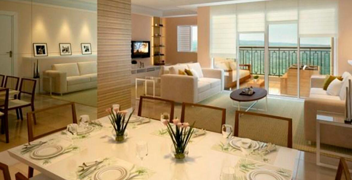 LIVING AMPLIADO do apto de 131 m² que cria uma reservada Sala de TV do Atmosphera - Cores do Japi
