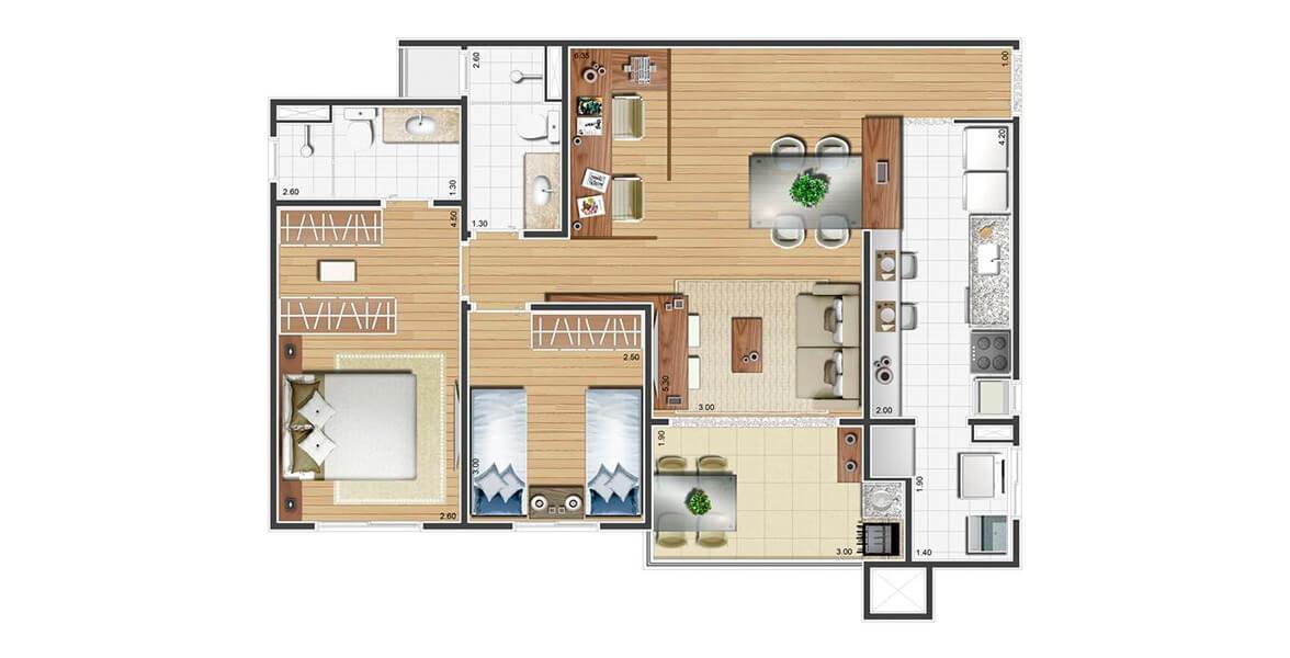 Planta do Atmosphera - Cores do Japi. 78 M² - 2 DORMS., SENDO 1 SUÍTE. Apartamento no Eloy Chaves com 2 dormitórios e uma boa área social com cozinha integrada. O terraço gourmet também tem opção de churrasqueira. Ótimos preços!