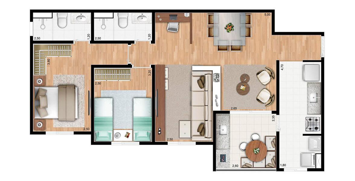 Planta do Atmosphera - Mirante do Japi. 76 M² - 2 DORMS., SENDO 1 SUÍTE. Apartamento no Eloy Chaves com sala ampliada, criando uma reservada Sala de TV, deixando a área social bastante confortável, com ótimo apoio do terraço.