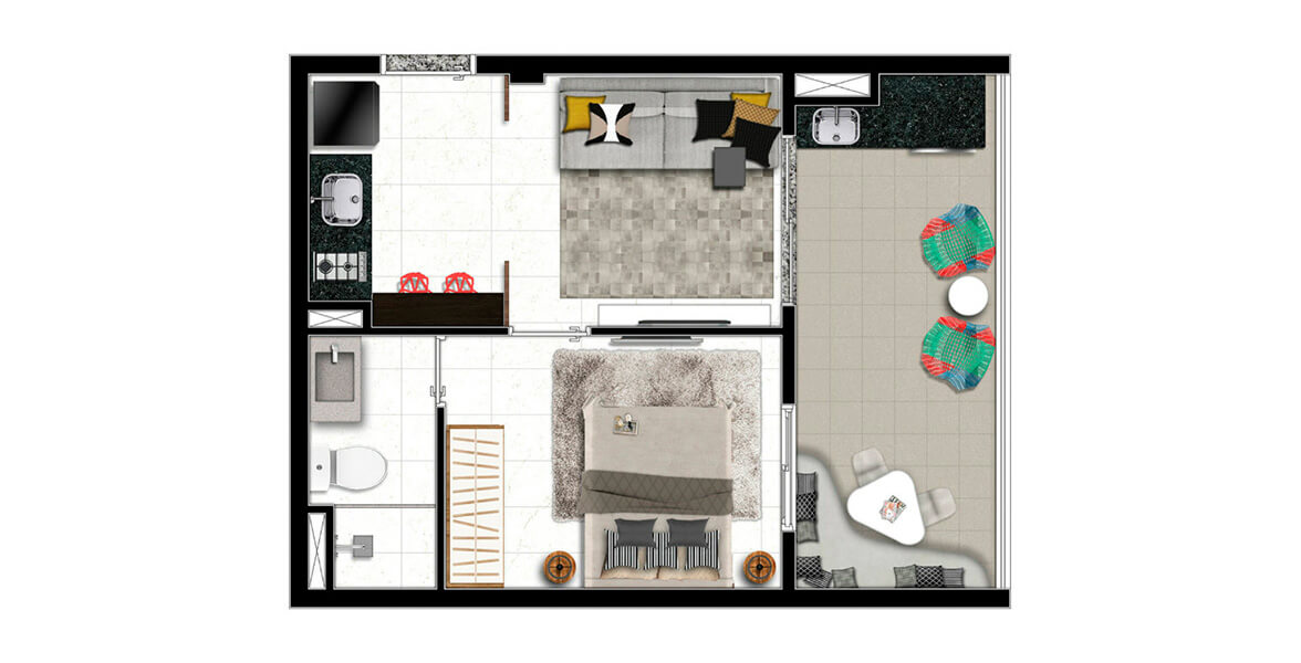 35 M² - 1 SUÍTE. Apartamento no Cambuci com suíte e ampla varanda, que complementa muito bem a sala, principalmente ao receber os amigos! Há opção com e sem vaga na garagem.