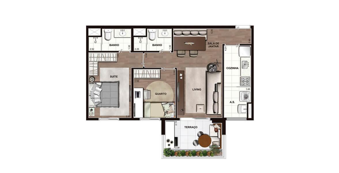 67 M² - 2 DORMS., SENDO 1 SUÍTE. Apartamento na Lapa com 2 dormitórios e living apoiado pelo terraço, sua extensão natural, muito útil ao receber os amigos. 2 vagas.