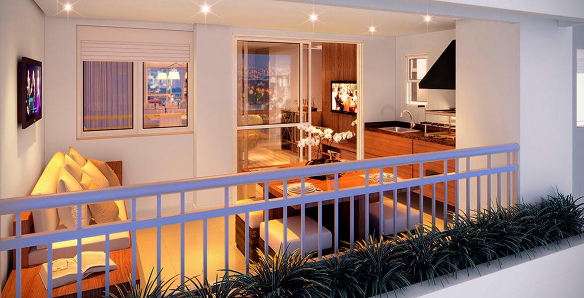 TERRAÇO GOURMET do apto de 87 m² com opção de churrasqueira e bancada, com janela com persiana de enrolar do Ritratto Parada Inglesa