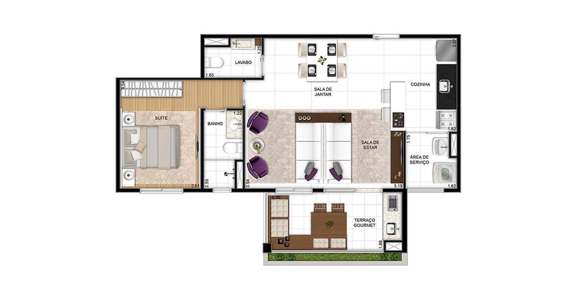 Planta do Ritratto Parada Inglesa. 65 M² - 1 SUÍTE. Apartamento na Parada Inglesa com living ampliado, apoiado por lavabo, cozinha americana e integração com o amplo terraço em L com mais de 4 m de frente, onde há um acabamento ajardinado.