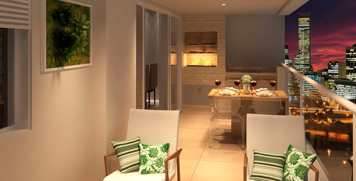 TERRAÇO GOURMET do apto de 128 m² com churrasqueira de alvenaria e guarda-corpo de vidro!