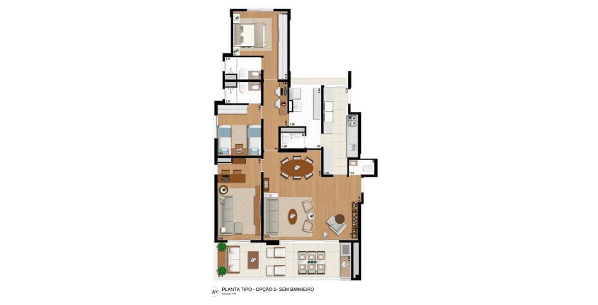 128 M² - 2 SUÍTES. Apartamento em Perdizes com opção de 2 suítes e uma reservada Sala de TV com espaço para home office. O amplo living se integra ao terraço gourmet com 8 m de frente e churrasqueira.