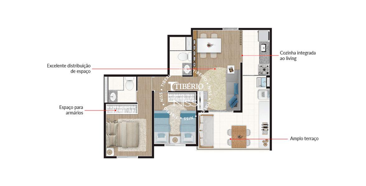 60 M² - 2 DORMS., SENDO 1 SUÍTE. Apartamento no Tatuapé com 2 dormitórios e ótimo terraço integrado à cozinha, que é a extensão natural da sala.
