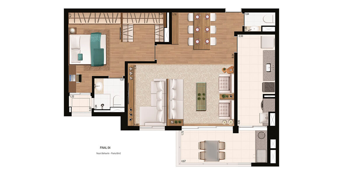 80 M² - 1 SUÍTE. Apartamento em Bethaville com living ampliado, criando uma reservada sala de TV. A suíte do casal ficou excelente, com closet e espaço para home office.